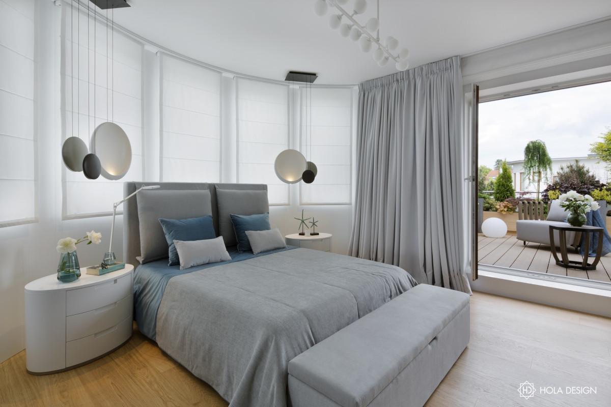 Szara sypialnia (proj. Hola Design)