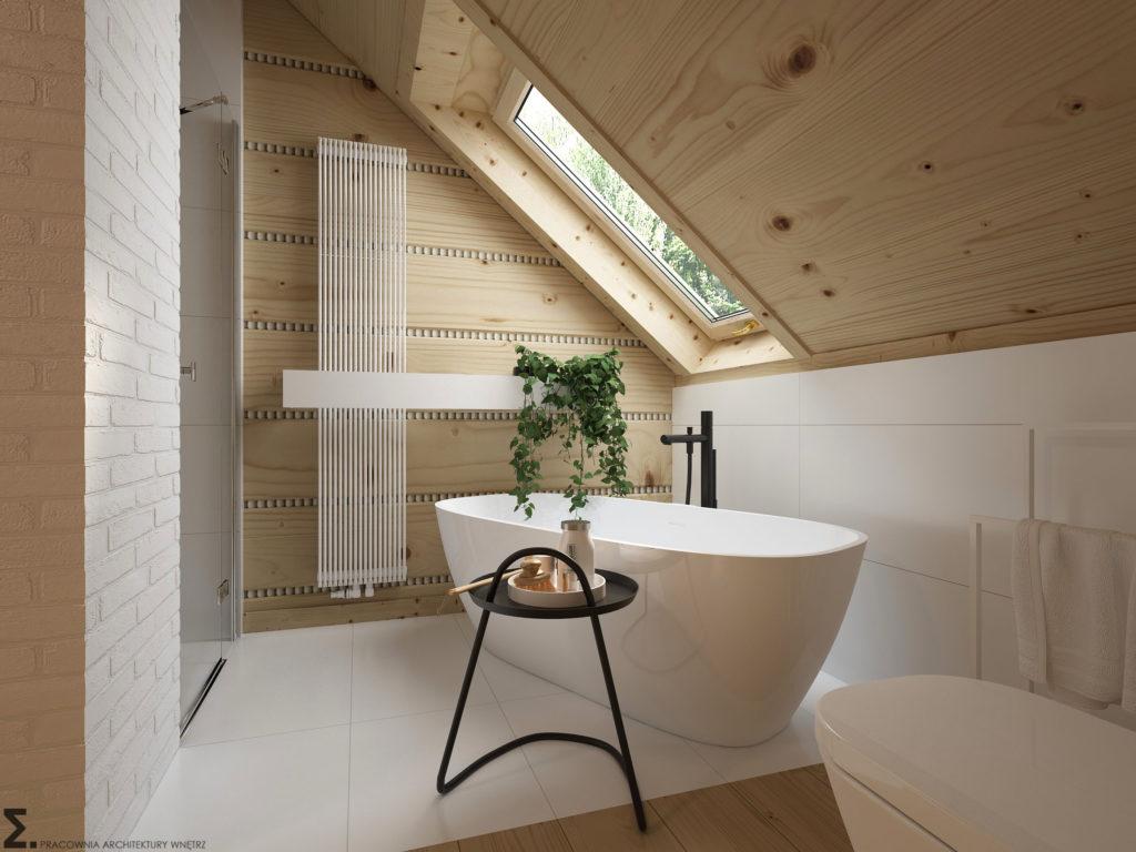 Biel i drewno w łazience | Projekt Elementy