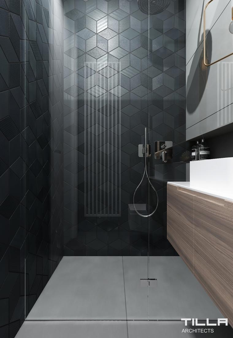 Tiila Architects | Łazienka z czarną ścianą płytki Mutina Tex