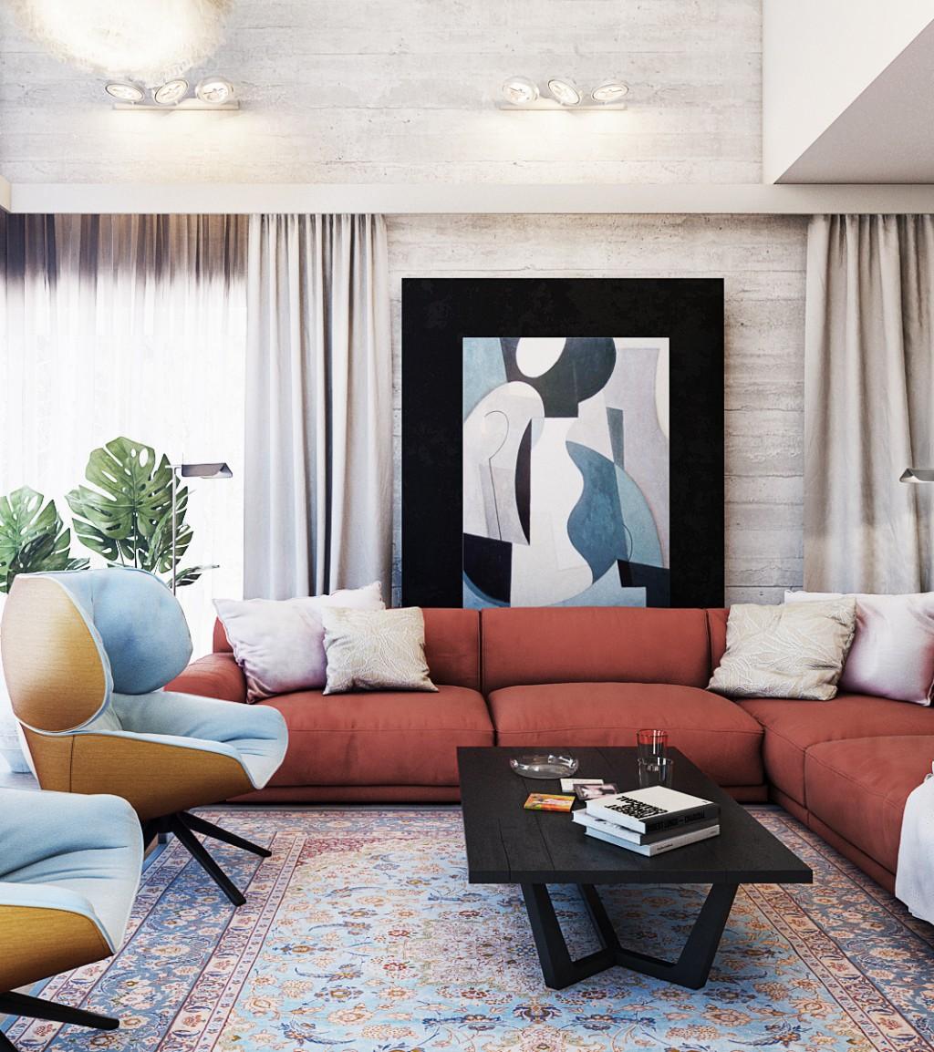 Poduszki w kolorze zasłon dopełnią atmosferę przytulnego domu | Proj. Finch Studio