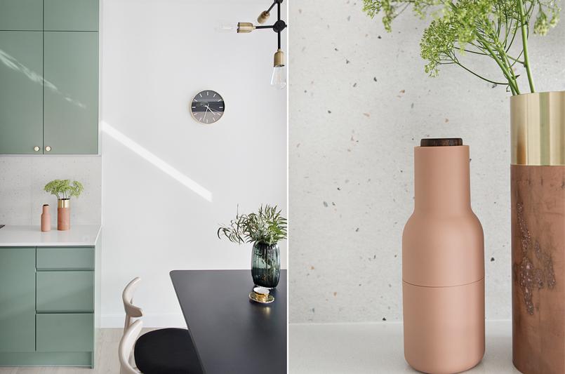 Płytki w lastryko to ciekawa propozycja na ścianę nad blatem (proj. Studio LOKO)