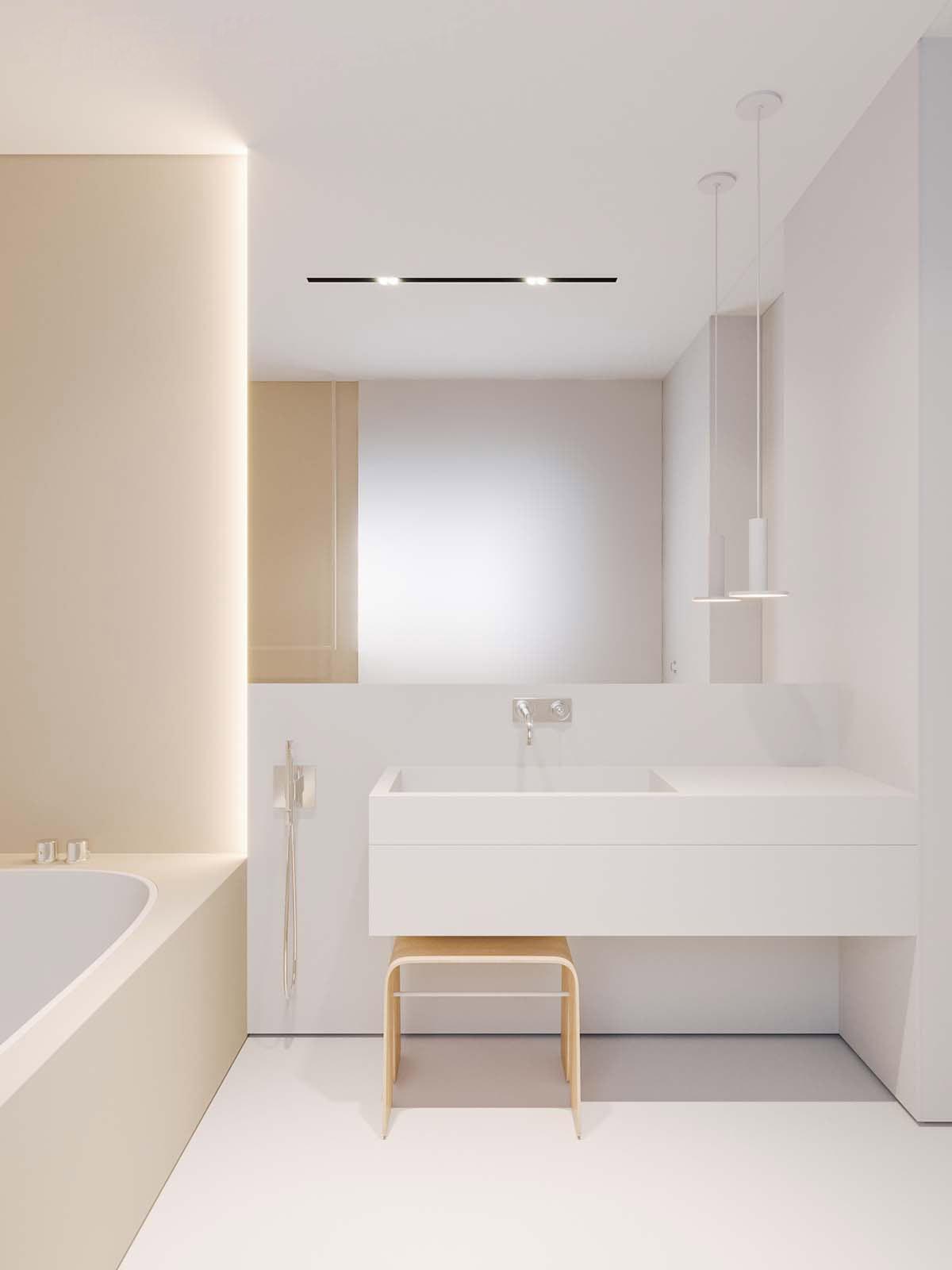 Projekt łazienki KUOO ARCHITECTS, Katarzyna Kuo Stolarska | Minimalistyczna łazienka z delikatnie złotą armaturą