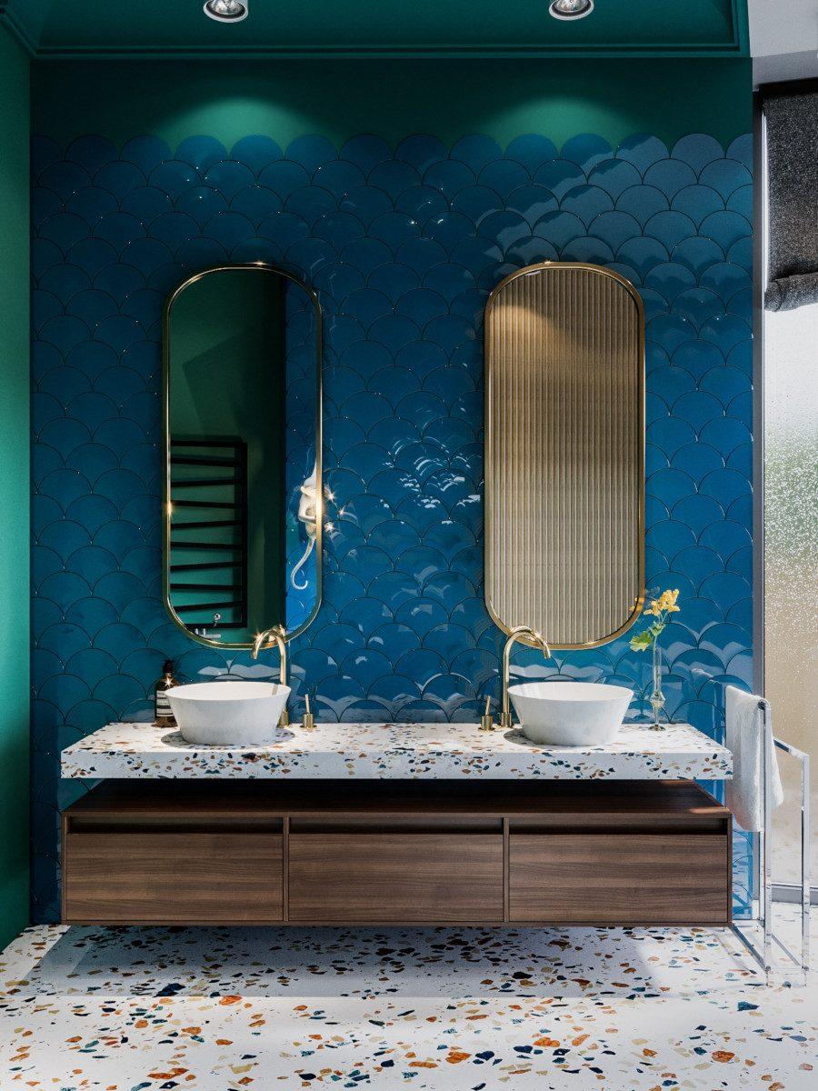 Przepiękna łazienka z płytkami w rybią łuskę - ceramika ze zdjęcia (Natucer) jest dostępna w naszych showroomach