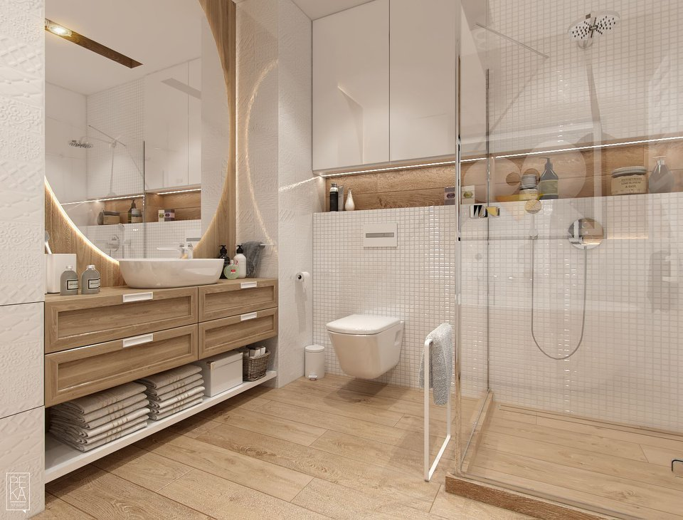 Biało - drewniana łazienka | proj. Peka Studio