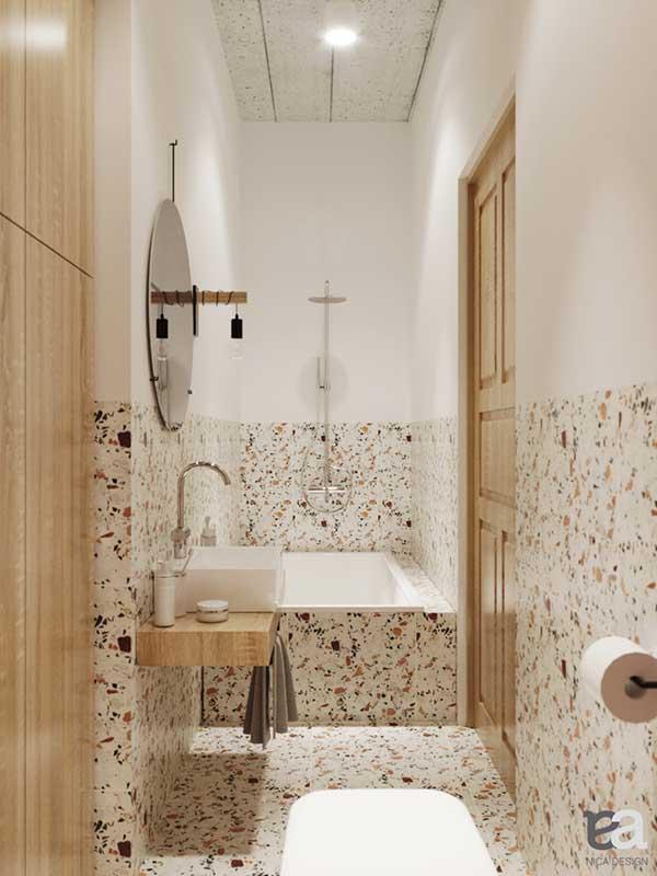 Mała łazienka pod znakiem terazzo w projekcie NicaDesgin