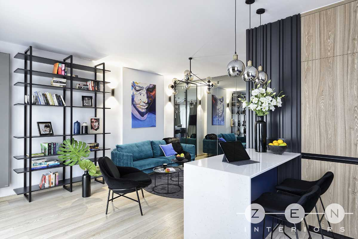 Kolor navy blue we wnętrzach | proj. ZEN Interiors