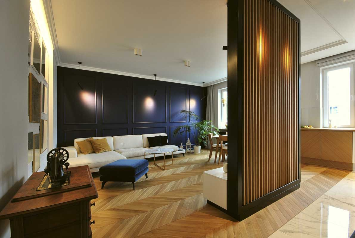 Ponad 40-metrowa przestrzeń dzienna, otwarta na kuchnię | proj. Piotr Stolarek – Projektowanie wnętrz