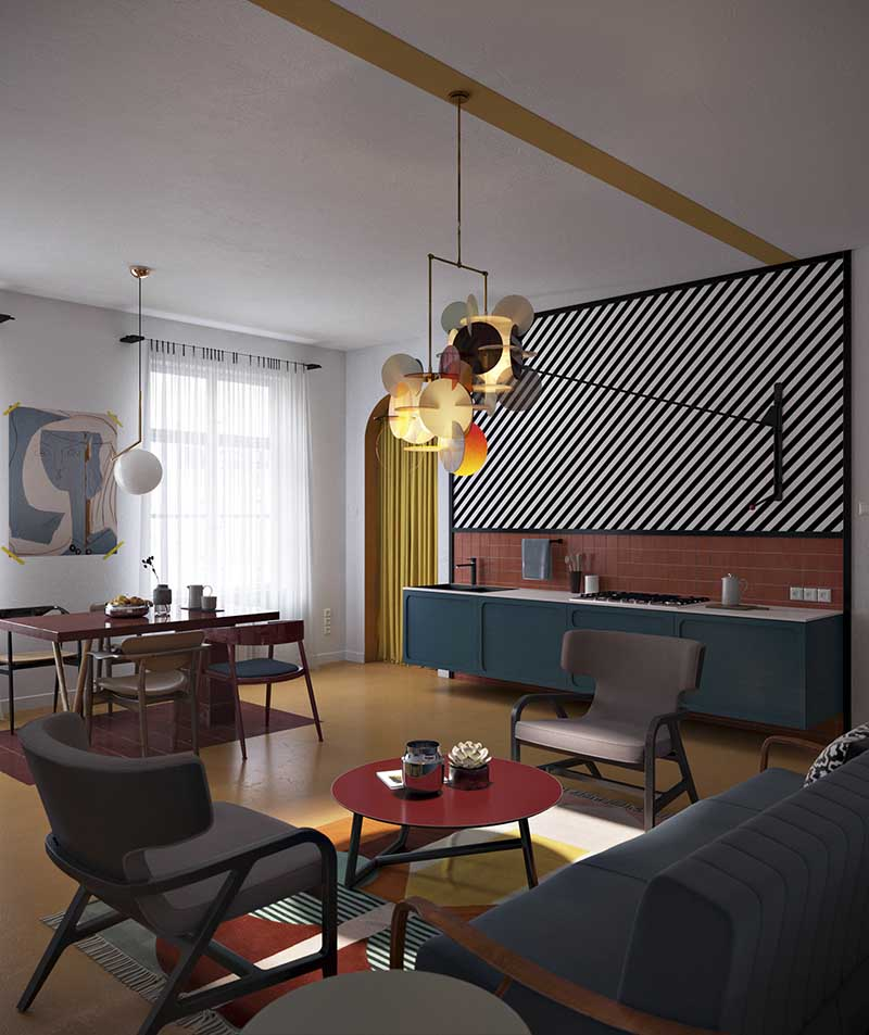 Daria Zinovatnaya  - projekt mieszkania w stylu modern na przełomie z pop-artem