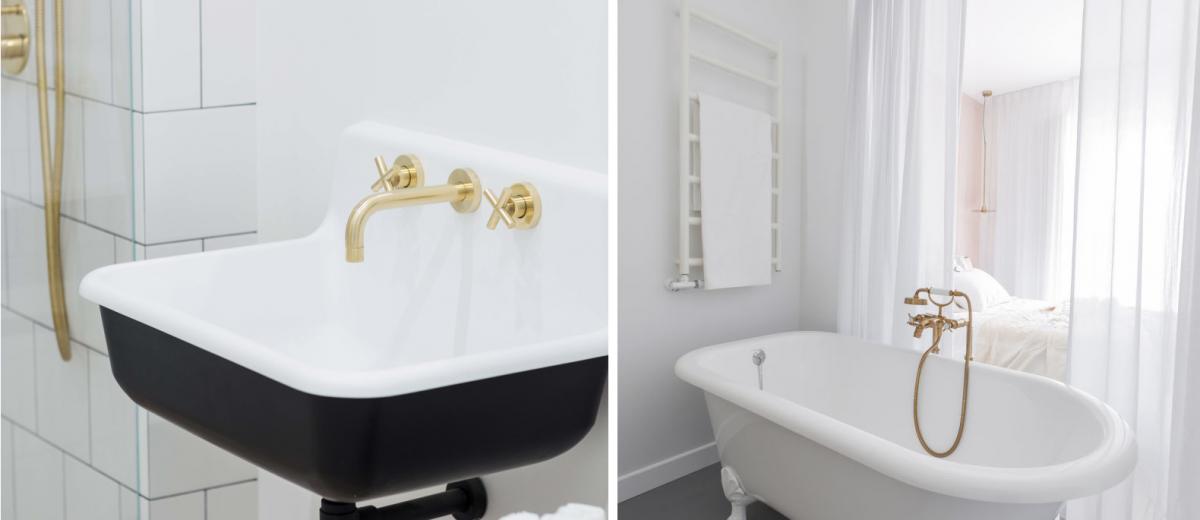 Elementy w stylu retro w projektach łazienek | proj. Dash Interiors