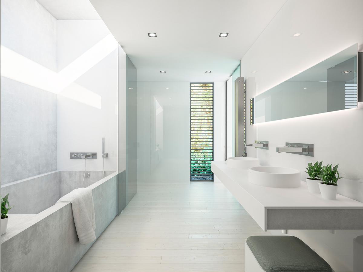 Cała łazienka włącznie z wanną wykonana z płytek wielkoformatowych X Light Premium Moon marki Urbatek
