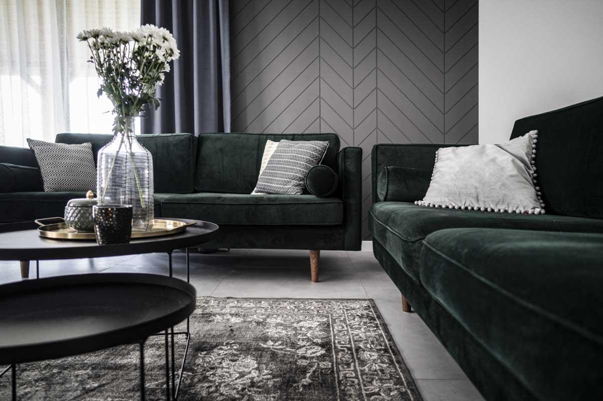 sofa butelkowa zieleń