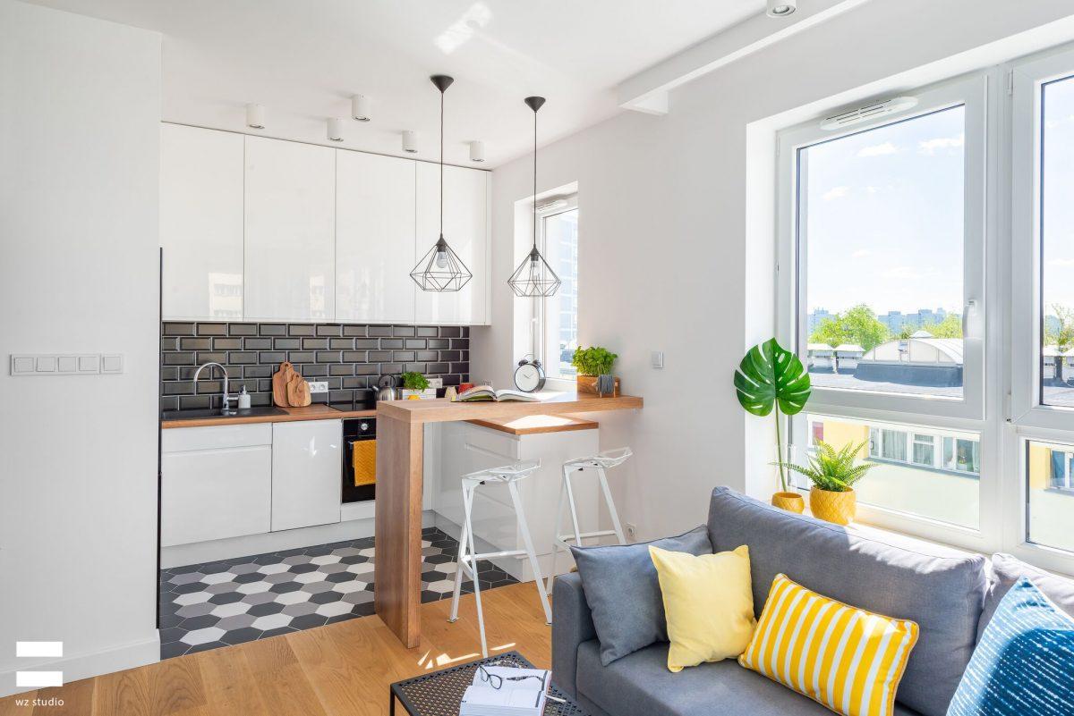 Projekt mieszkania 45 m2 z ciekawą aranżacją małego salonu