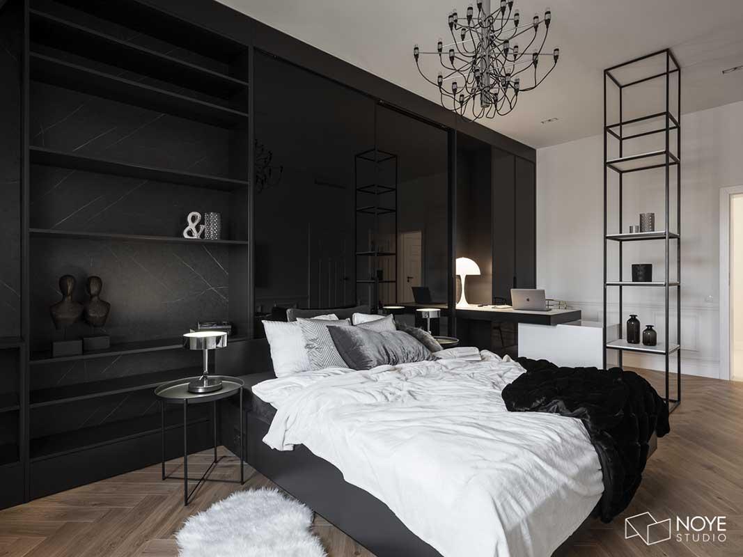 Jedna z sypialni połączona z miejscem do pracy | proj. Noye Studio, zdj. Przemysław Kuciński