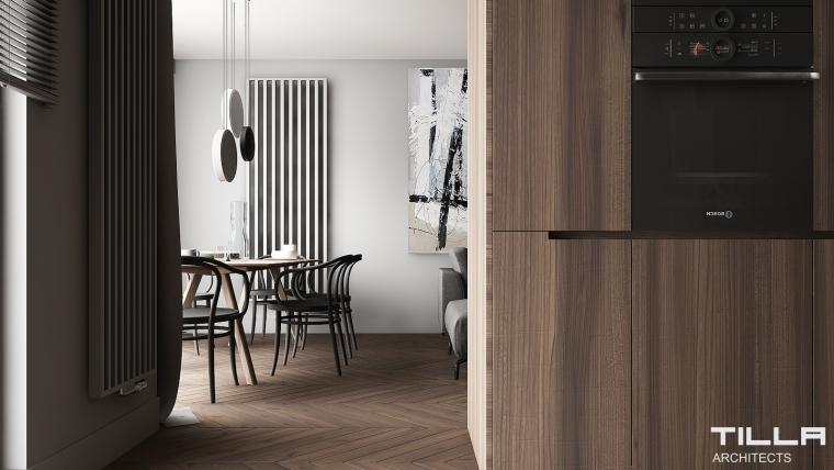 Tilla Architects | Metropolitan na ścianie w jadalni