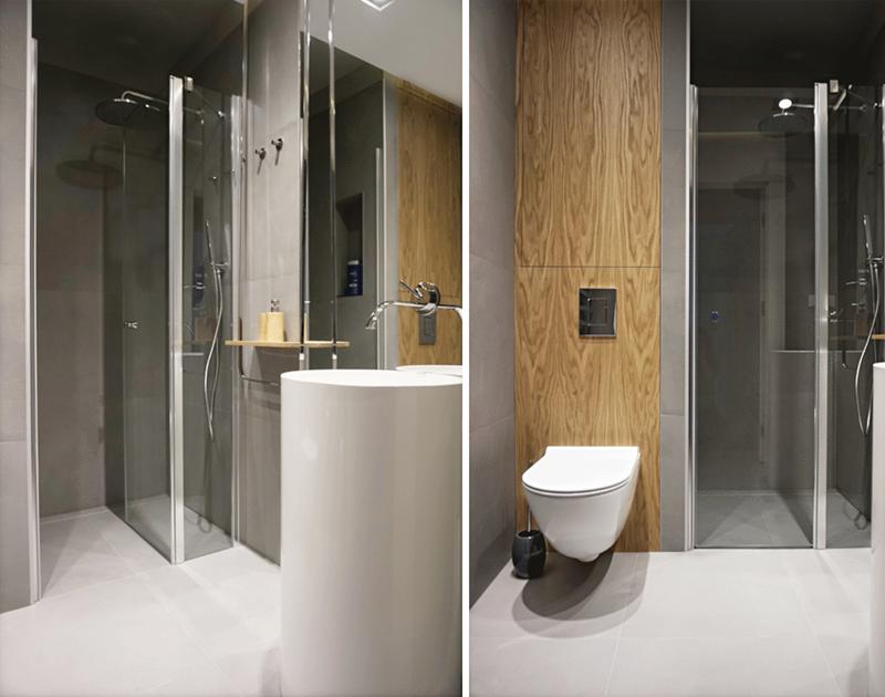 Szaro - drewniana łazienka | proj. Zuku Design