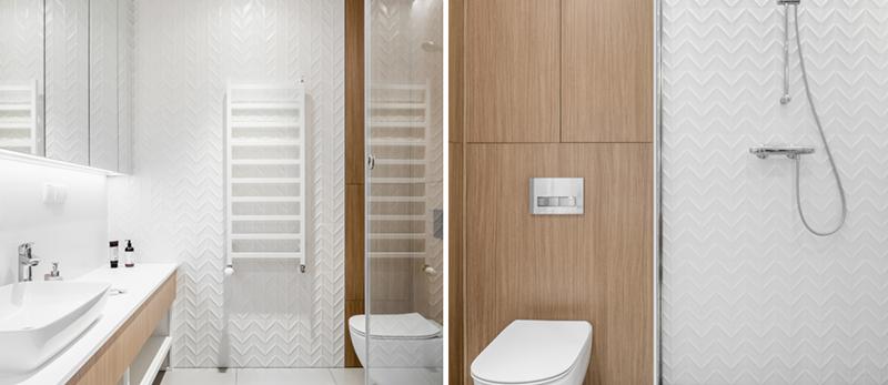 Biało - drewniana łazienka | proj. Anna Maria Sokołowska, zdj. Fotomohito