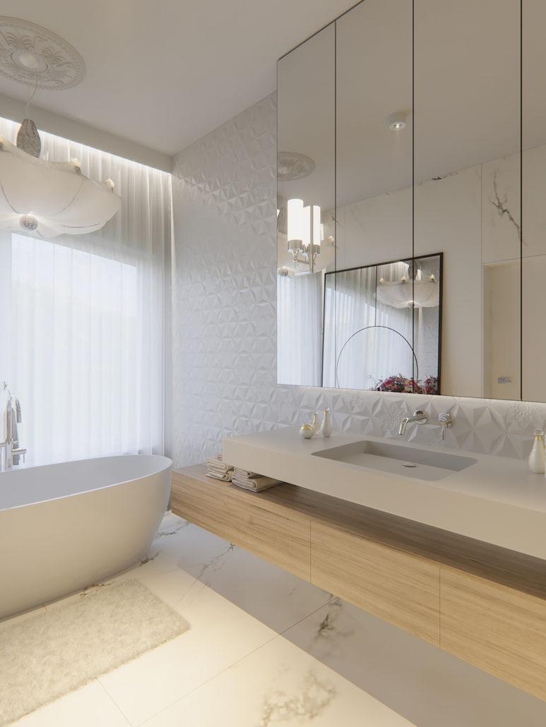 Płytki 3D na ścianie w łazience | proj. Nabo