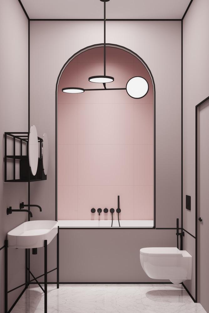 Projekt łazienki w delikatnym różu z czarnymi akcentami