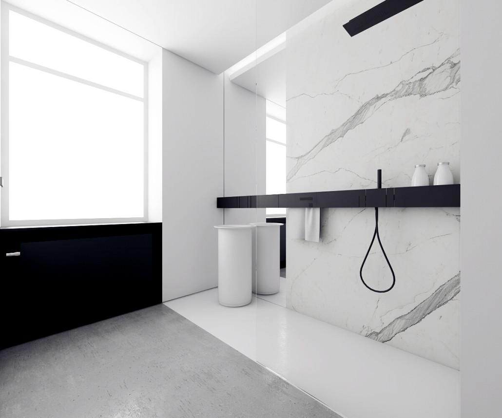 Łazienka w stylu minimalistycznym z grzejnikiem Niva wkomponowanym w aranżację | proj. Inuti