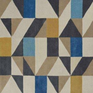 Niebiesko Beżowy Dywan Geometryczny – NUEVO INDIGO