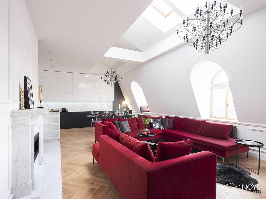 Kuchnia stanowiąca piękno tło dla salonu | proj. Noye Studio
