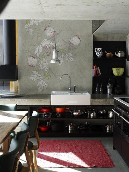 Tapeta w kuchni na zlewem