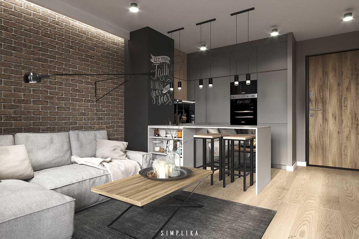 Projekt salony otwrtego na kuchnię