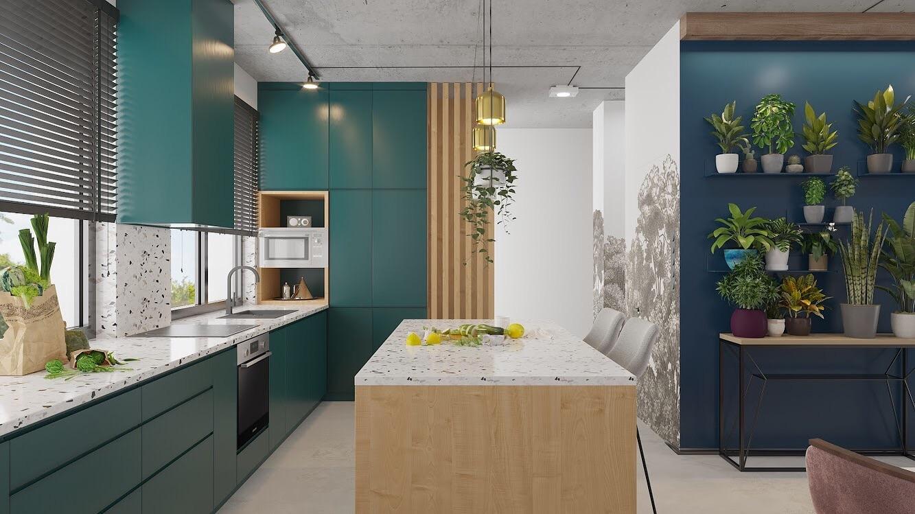 Boho Studio kuchnia zielona i lastryko