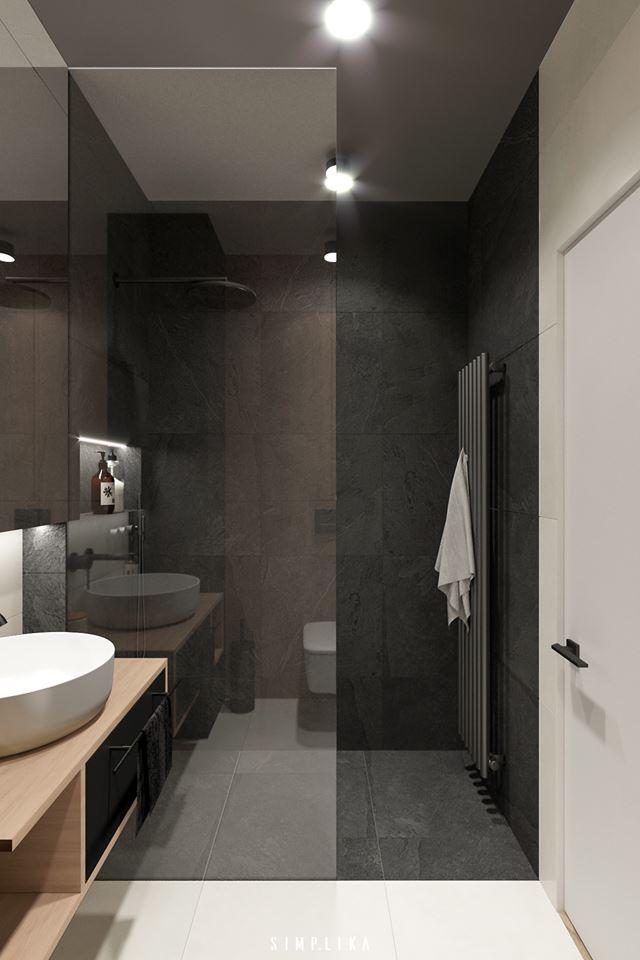Mała łazienka w industrialnym klimacie | proj. Simplika