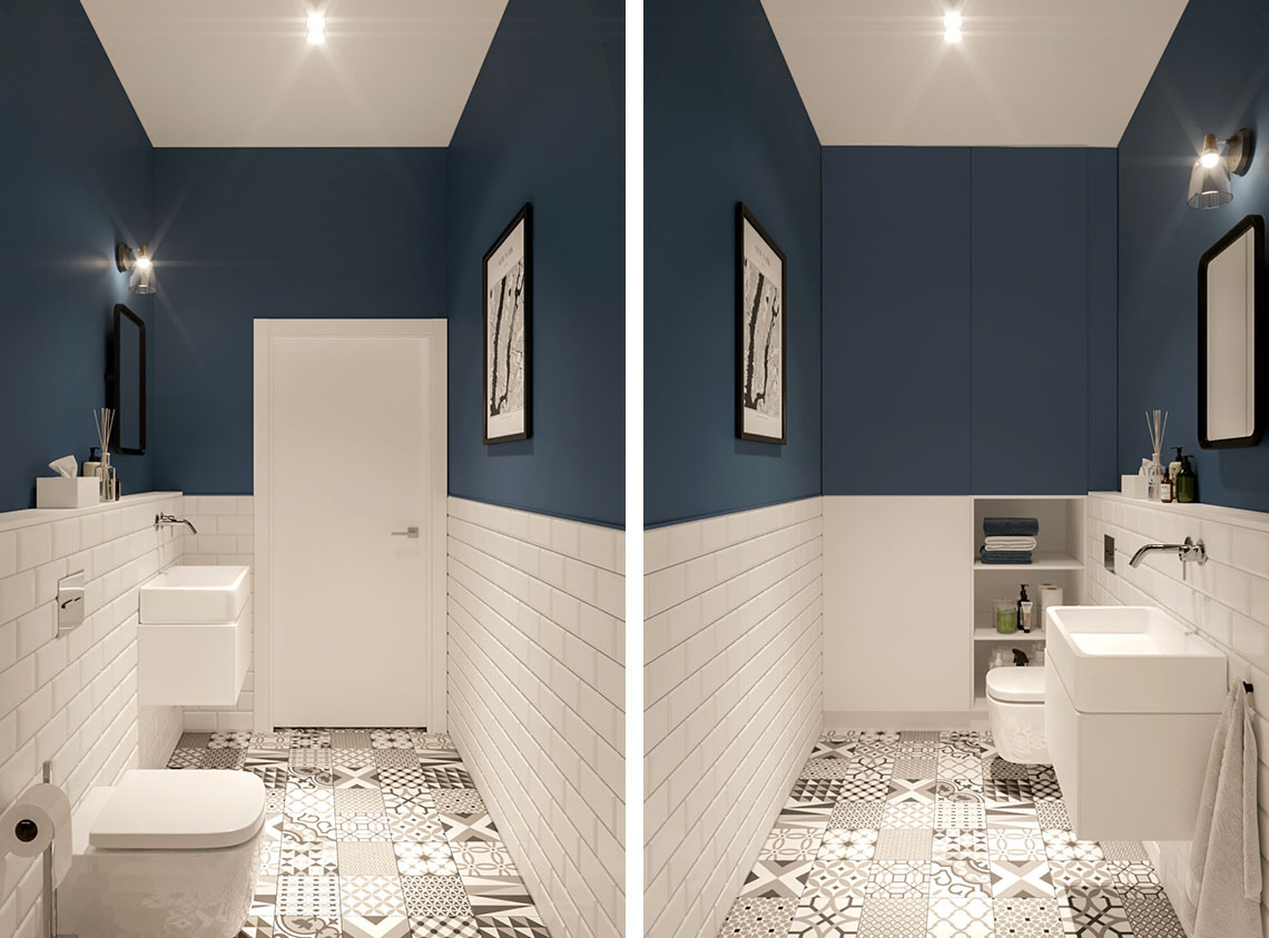 Stylowa łazienka z wzorzystą podłogą, tradycyjnymi kaflami i akcentem granatu | proj. Eg Projekt