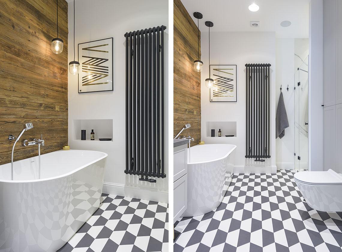 Łazienka z wzorzystą podłogą | proj. Eg Projekt