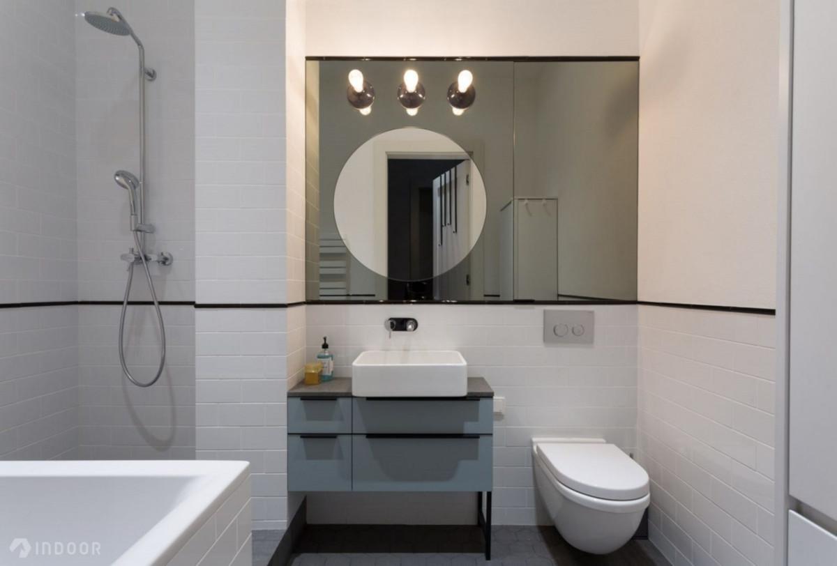 Łazienka z wpływami stylu industrialnego | proj. Indoor, fot. Piotr Mastelarz