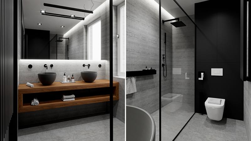 Łazienka z czarnymi umywalkami i armaturą w tym samym wykończeniu | proj. Line Design