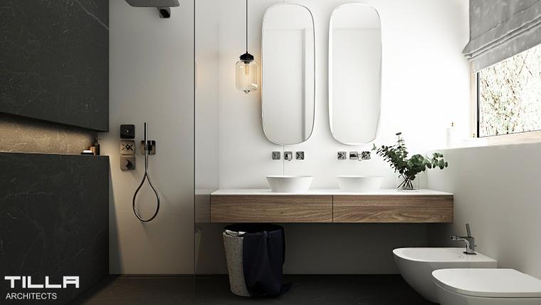 Delikatna łazienka w industrialnym stylu | proj. TILLA Architects