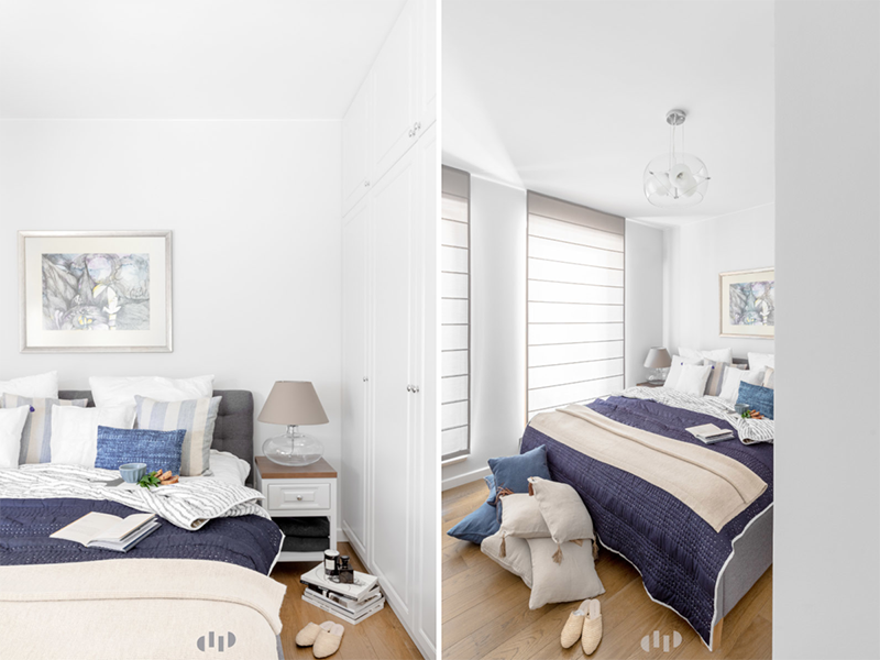 Mała sypialnia w jasnych kolorach | proj. Dziurdzia Projekt