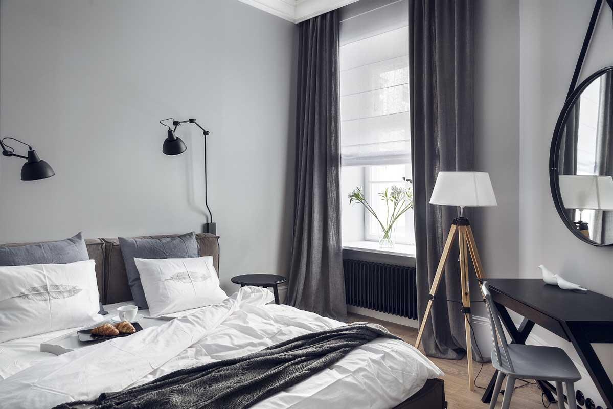 Mała sypialnia w szarościach | proj. luumo