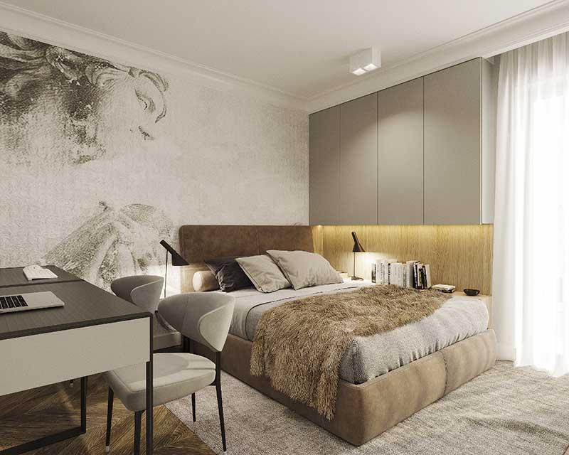 Sypialnia w ciepłych kolorach | proj. Motyw Design