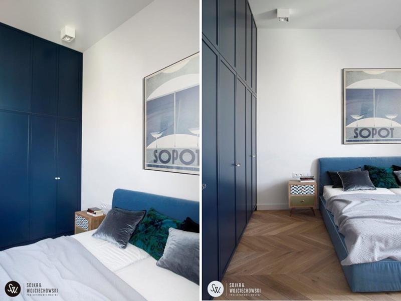 Sypialnia z niebieskim akcentem | proj. Sojka & Wojciechowski