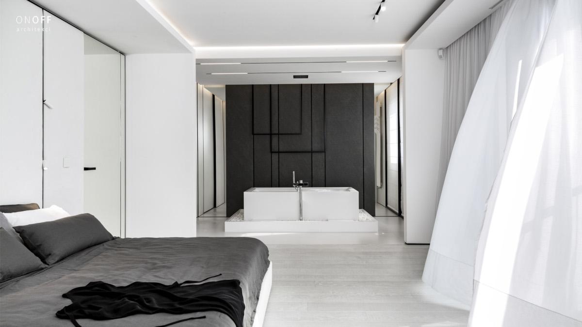 sypialna z łazienką