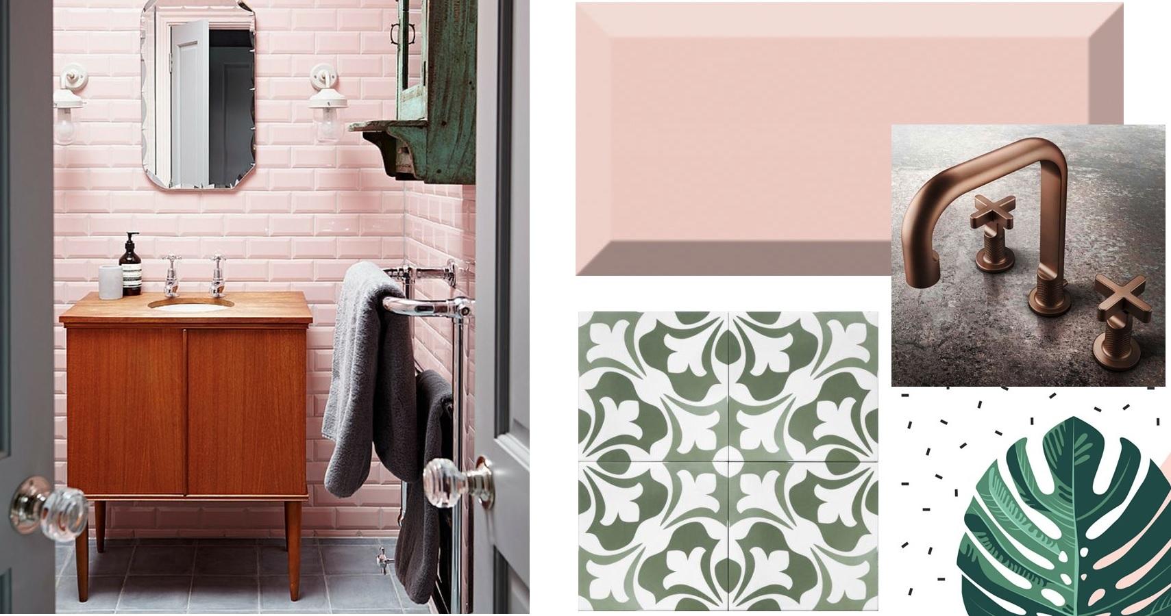 Płytki różowe w łazience retro