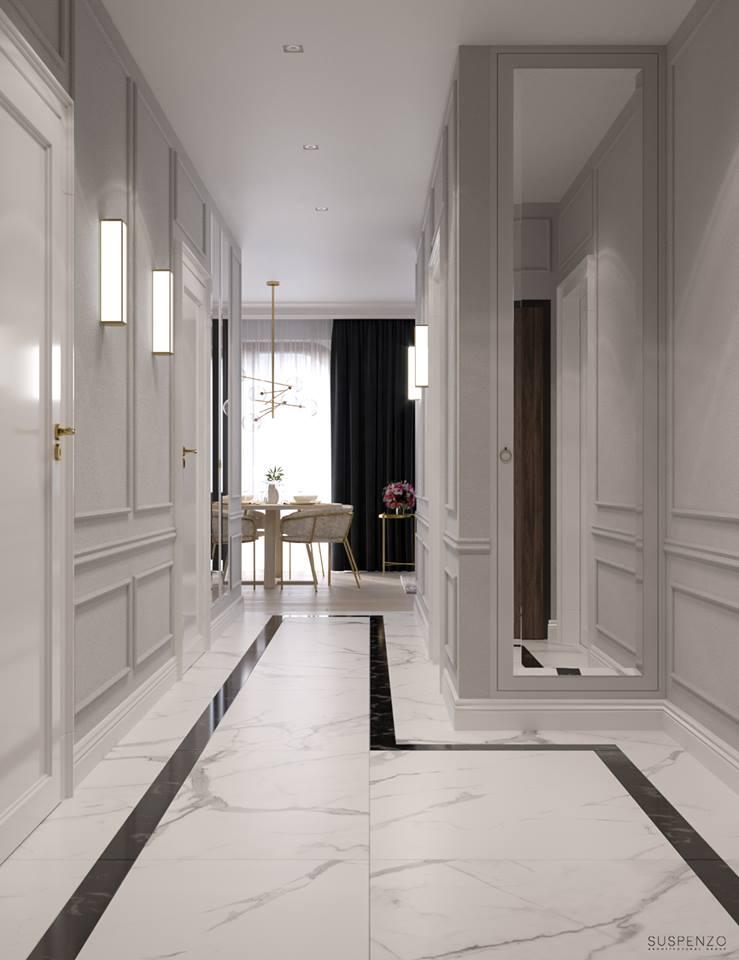 Elegancki i klasyczny przedpokój z marmurowymi płytkami na podłodze