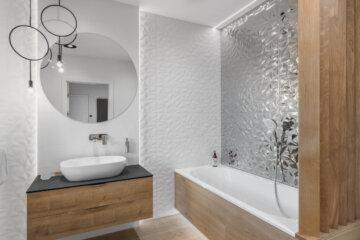 Łazienka z płytkami 3D | proj. Studio Projekt, zdj. Fotomohito