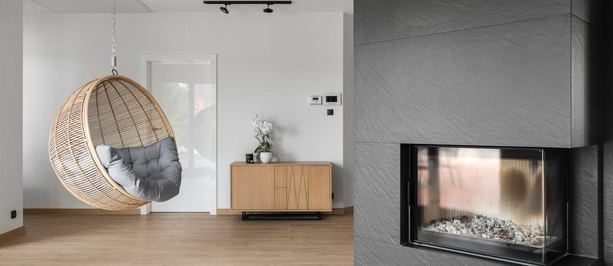 Zwieszany z sufitu fotel w holu | proj. Studio Projekt, zdj. Fotomohito