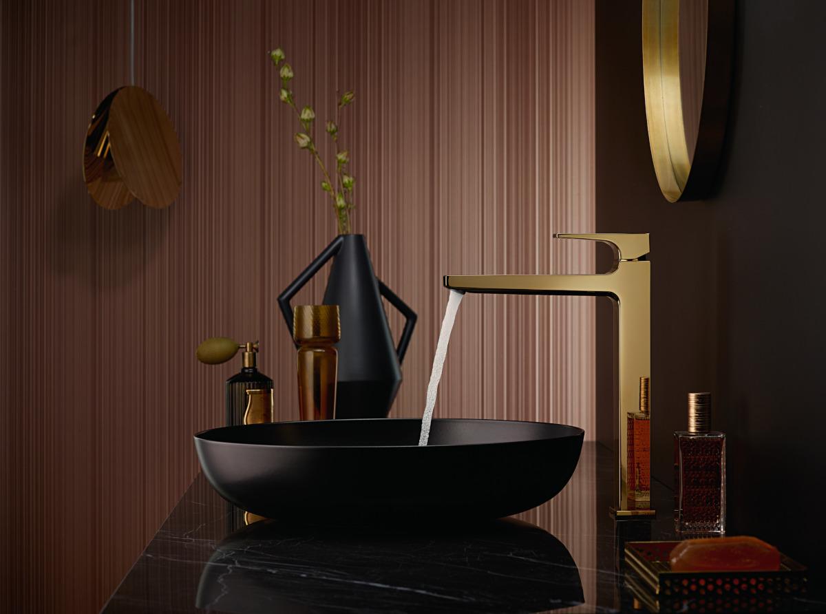 Piękna złota bateria umywalkowa (kolor: polerowane złoto optyczne)