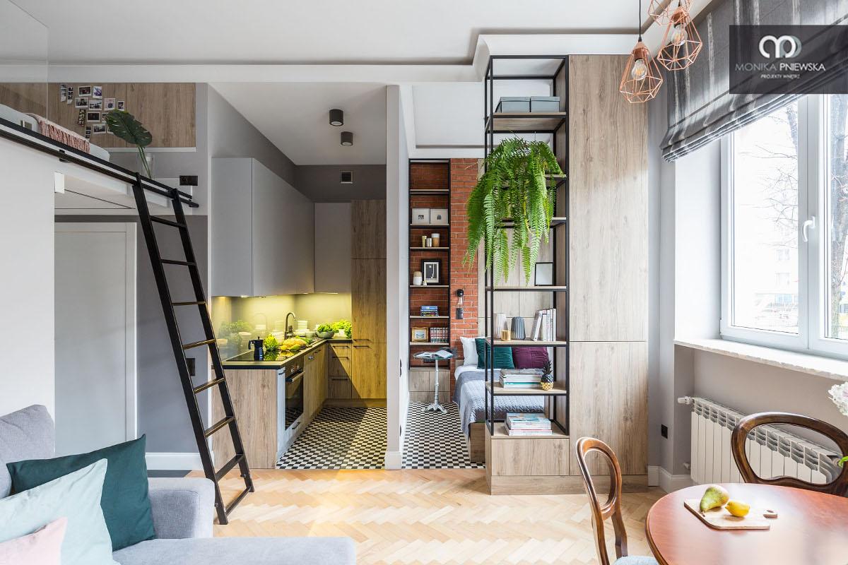 35-metrowe mieszkanie (proj. Monika Pniewska) | Kliknij, żeby zobaczyć cały projekt