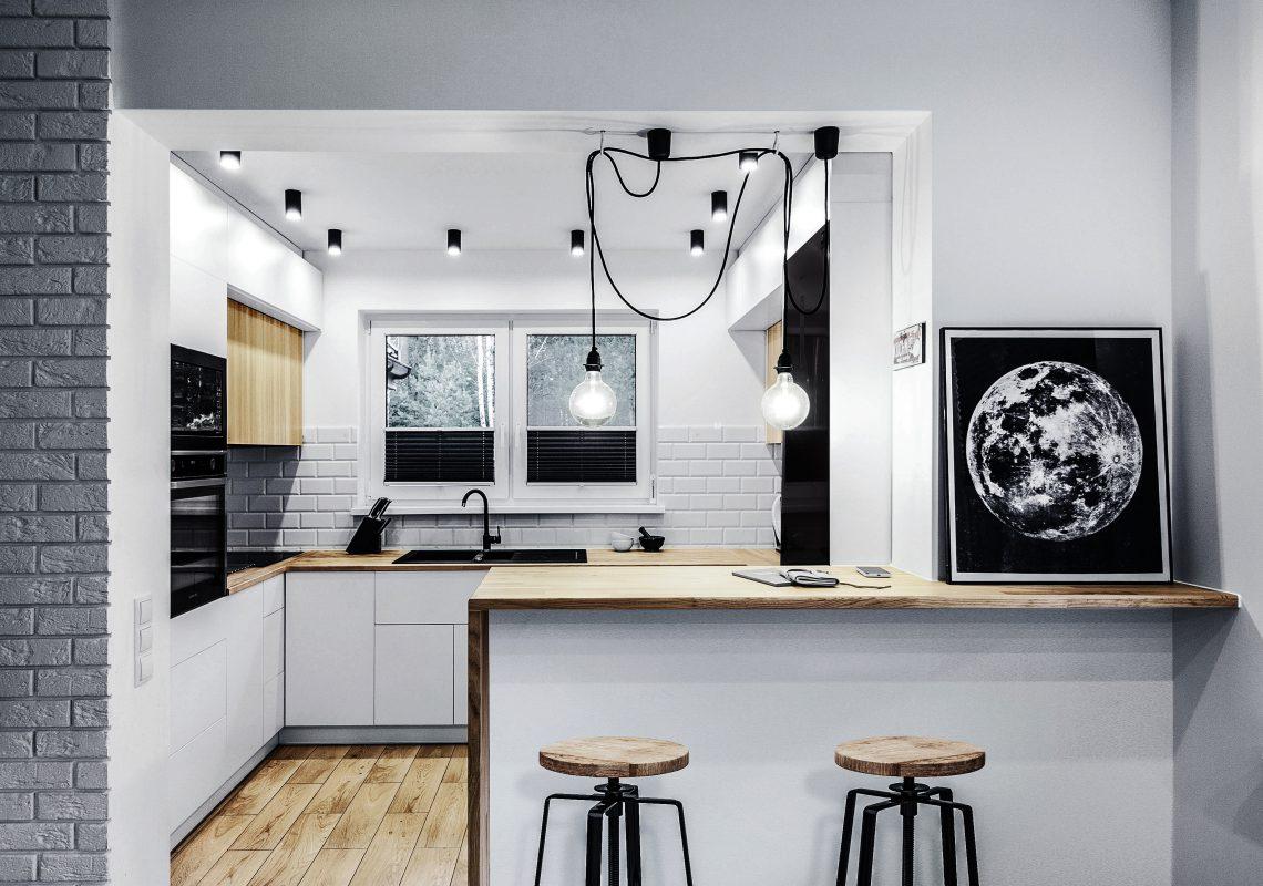 Płytki w kuchni w stylu skandynawskim z elementami industrialu