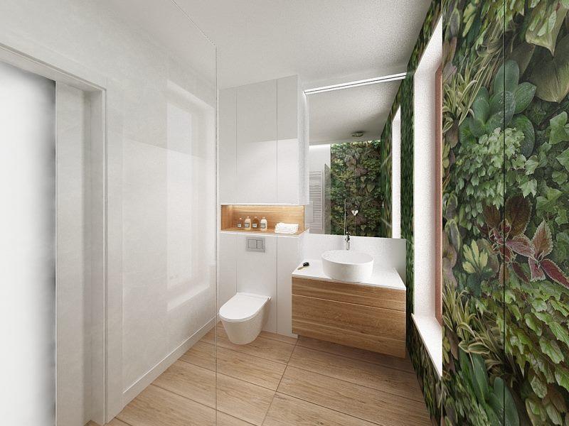 biało - drewniana łazienka