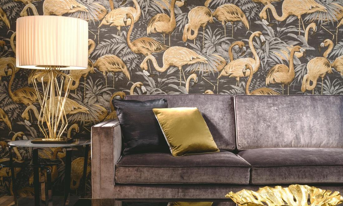 Tapeta w złote flamingi od Arte jest dostępna w naszych showroomach