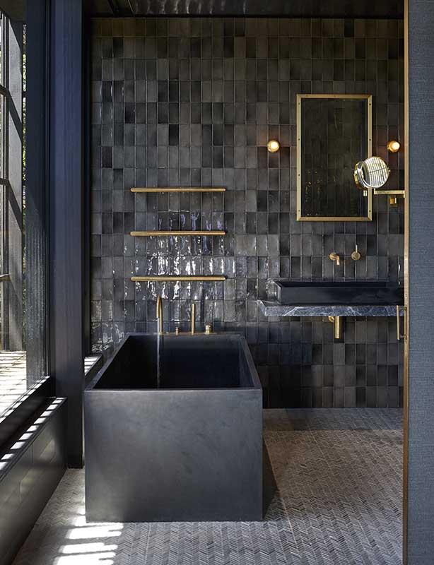 Czarna łazienka płytki equipe art