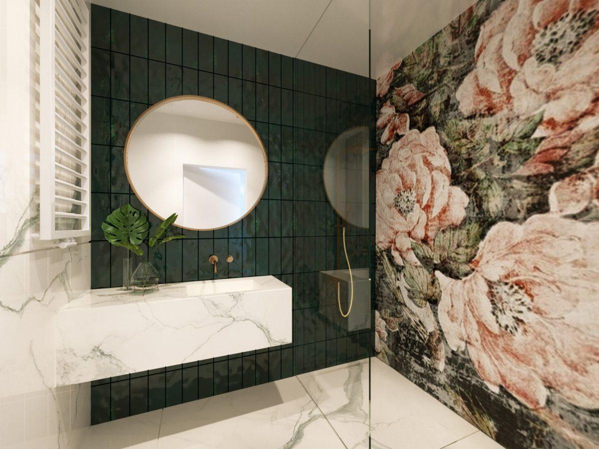 Zielona łazienka | proj. JMW Architekci